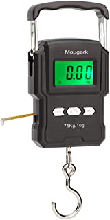 Mougerk Portable Digital Hanging Scales 165lb 75kg Heavy Duty Fish Scale with Measuring Tape, 2 AAA Batteries (Not Included)