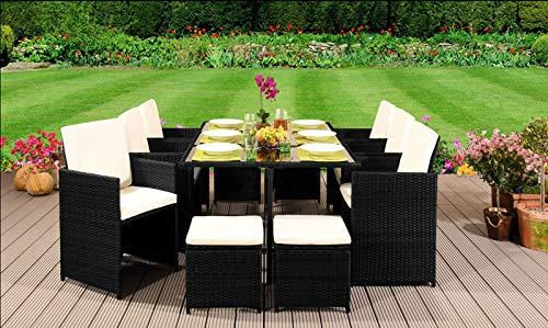 EIVD - Set di mobili da giardino in rattan, con sedie, divano, tavolo da esterno, 10 posti, colore: D1