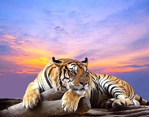 LYFKYL Puzzle-1000 Teile Tiger im Sonnenuntergang Erwachsene Kinder Puzzle Home Decoration Art Geschenke