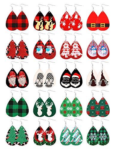 Sunssy 20 Pairs Christmas Leather Earrings for Women Lightweight Xmas Faux Leather Earrings Teardrop Dangle Earrings Handmade Christmas Tree Snowflake Elk Santa Earrings