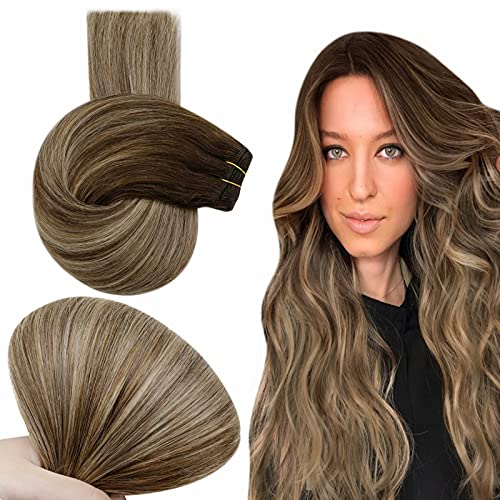Easyouth Sew in Bundles Weave Brazilian Human Hair Extensions Balayage Color Chocolate Brown Fading to Honey Blonde and 4 Medium Brown Highlights Weft Hair Extensions Real Remy Hair Bundles 22Inch 100g