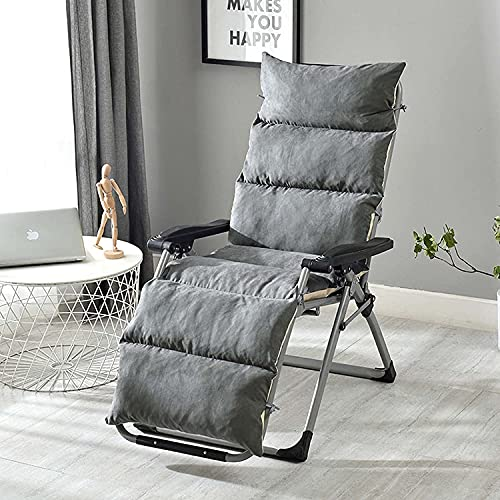 Muyuuu Patio Lounge Chair Cushion, Non-Slip High Back Chair Cushions Leisure Folding Lunch Break Adjustable Lazy Chair Mat Removable Cotton Pad (Color : Grey, Size : 50x175CM)