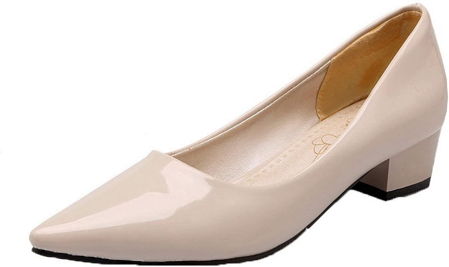 WeenFashion Women's Patent Leather Low-Heels Pull-On Closed-Toe Pumps-shoes