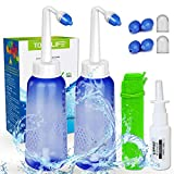 2PCS-Pack Nose Wash Kit -|2 Bottle + 4 Nozzle|- 300ml 10oz Nose Washer - Sinus Rinse Kit - Nose Cleaner & Sinus Irrigation with Free Gift -| Nasal Sprayer + Storage Bag |- for Adult and Child