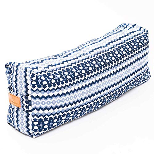DoYourSports Cojín de Yoga y meditación Cuadrado »Paravati« - Bloque Yoga Relleno de Cáscara de Espelta - 67 x 13 cm - Comodidad y Firmeza - Estabilidad del Asiento - Azul/Blanco