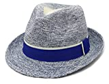 xuanchen Summer Raffia Hats Sun Protection Mordern Ladies for Beach,Hiking,Camping in Spring Autumn(Blue,Circumference 57cm)