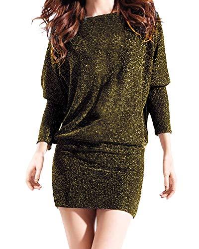 Auxo Damen Schulterfrei Kleid Langarmshirt Ballkleid Pailletten Partykleid Club Kurz Bodycon Minikleid Gold Large