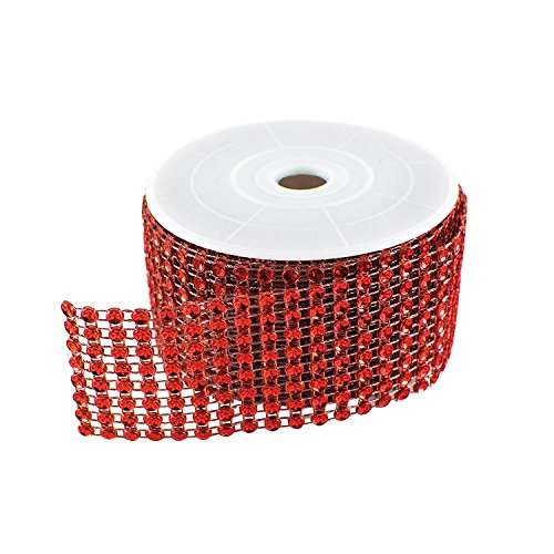 Diamond Sparkling Rhinestone Mesh Ribbon Roll for Arts & Crafts, Event Decorations, Wedding Cake, Birthdays, Baby Shower, 1.5' x 3 Yards, 8 Row, 1 Roll by Super Z Outlet (Red)