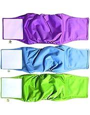 PET MAGASIN Pañales para Perro Cubre Panza Lavables [Juego de 3 Piezas] Pañales Reutilizables y amigables con el Medio Ambiente (Solid, S)