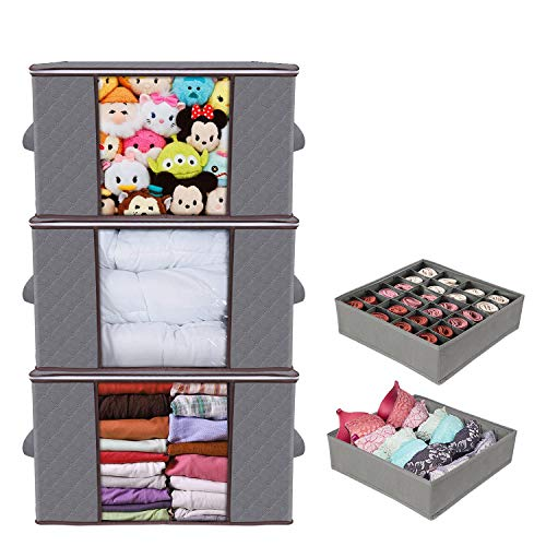 Jayol 5Packs Clothes Storage Bags 90L Large Capacity Organizer with Reinforced Handle Thick Non-Woven Fabric for Comforters, Blankets, Bedding Foldable Breathable Closet Storage Bags