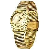 WWOOR Women's Watch Original Fashion Analog Quartz Watches with Stainless Steel Mesh Band Waterproof Wristwatch Casual Gift Watch Ladies (Rose Gold & Pink & White & Gold)