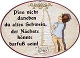 Kaltner Präsente Geschenkidee - Holz Geschenkartikel Deko Türschild im Antik Design DekoartikelMotiv Toilette Humor Piss Nicht DANEBEN DU Alten Schwein DER...