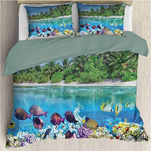 Ocean Island Microfiber Duvet Set, Sandy Seacoast And The Underwater Aquatic World In Maldives Travel Diving Paradise Photo, Decorative 3 Piece Bedding Set with 2 Pillow Shams, Twin Size, Multi