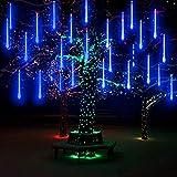 LED Meteor Shower Lights Blue 30cm AveyLum 8 Tube 144 LEDs Snow Falling Raindrop Cascading Lighting for Wedding Xmas Garden Tree Decor