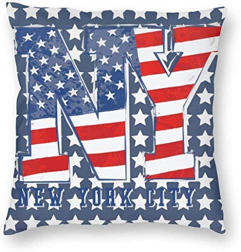 Fundas Decorativas para Cojines, Fundas de Almohada cuadradas de Lujo, Fundas de cojín para sofá, Coche, Bandera Estadounidense patriótica de Estados Unidos, Rayas de Estrellas de Nueva York, 18 x 18