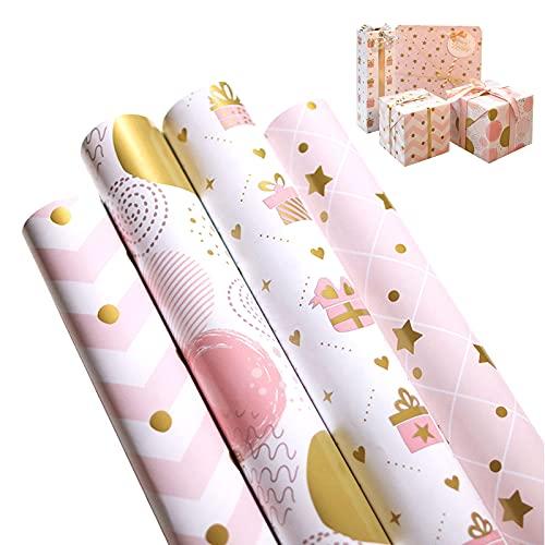 Papel de Regalo Dorado 12 Hojas de Papel para Cumpleaños San Valentín Navidad Manualidades de Papel de Bricolaje Decoración de Regalo Papel de Arte para Embalaje de Regalo Pink