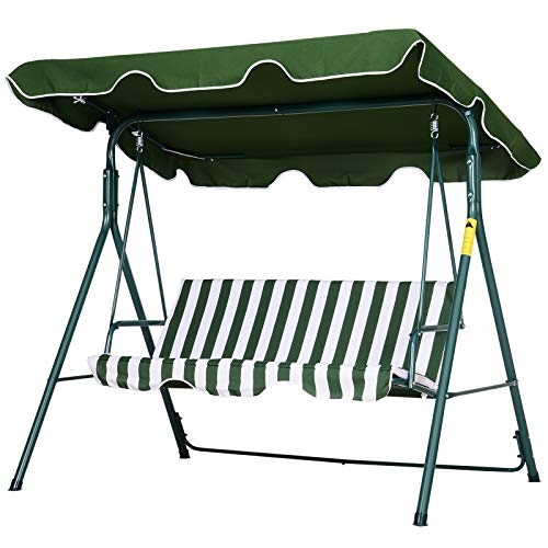 Outsunny 3 Seater Canopy Swing Chair Heavy Duty Outdoor Garden Bench with...