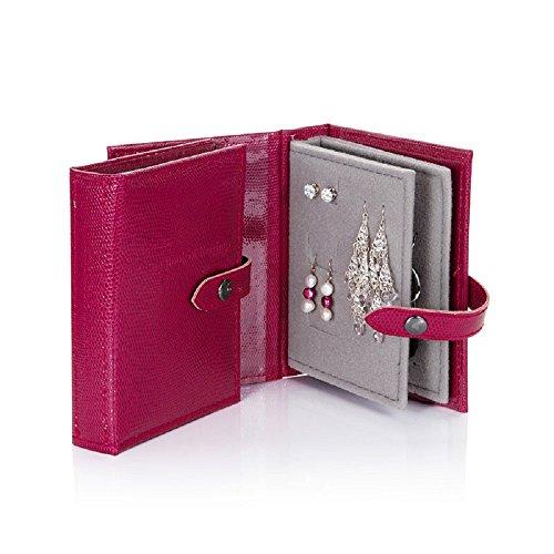 Piccolo libro di orecchini a forma di lucertola rosa ciliegia, piccolo libro di orecchini – un piccolo libro per tenere i vostri orecchini al sicuro.