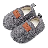 Scurtain Kids Toddler Slippers Socks Artificial Woolen Slippers for Boys Girls Baby with Non-Slip Rubber Sole 2025 Grey 5.5-6 Toddler