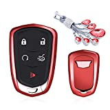 MODIPIM Keyless Entry Remote Cover Key Fob Case Soft TPU Holder Shell with Keychain (Diamond Tassel) Fit Cadillac XT5 ATS CT6 XTS SRX Color Red