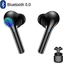 Wireless Earbuds Bluetooth 5.0 Headphone Touch Control in-Ear Wireless Earphone with Charging Case Microphone Noise Cancelling Deep Bass Waterproof Headset for Android iOS iPhone Samsung Black