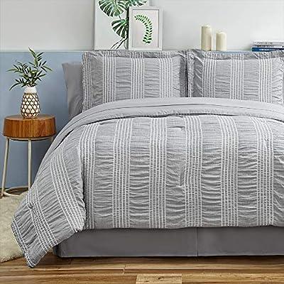 Bedsure Full/Queen Comforter Set 8 Piece Bed in A Bag Stripes Seersucker Soft Lightweight Down Alternative Grey Bedding Set 88x88 inch by Bedsure Sleep Solutions