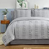 Bedsure King Comforter Set 8 Piece Bed in A Bag Stripes Seersucker Soft Lightweight Down Alternative Grey Bedding Set 102x90 inch