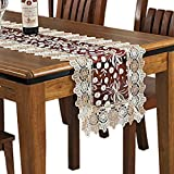 Lace Floral Embroidery Table Runner, Polyester Rectangle Transparent Dresser Scarf for Home Dining Room Tabletop Decoration, 16 x 48 Inches, Red