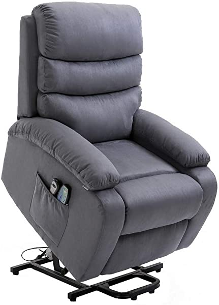 Homegear Microfiber Power Lift Electric Recliner Chair With Massage Heat And Vibration With Remote Charcoal Renewed