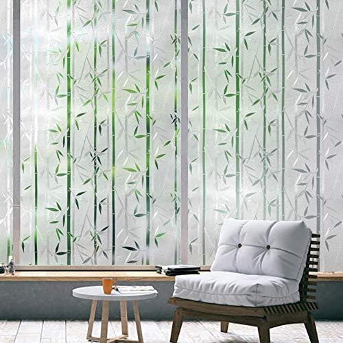 rabbitgoo Fensterfolie Selbsthaftend Blickdicht Bambus Sichtschutzfolie, Klebefolie Fenster 3D Dekofolie Statisch Anti-UV 44.5 x 200cm