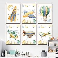 漫画飛行機熱風バルーンロケット壁アートキャンバス絵画北欧のポスターとプリント壁の写真赤ちゃんキッズルームの装飾-30x40cmx6フレームなし