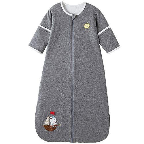 Saco de dormir para bebé de invierno con mangas desmontables, para todo el año, 2,5 tog, barco de vela (3/6 años de edad, oso gris velero