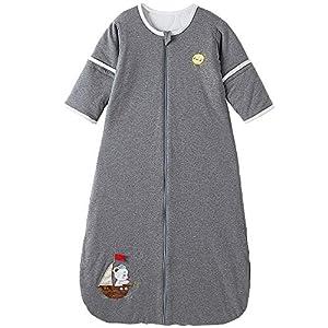 Saco de dormir para bebé con mangas desmontables, saco de dormir de invierno unisex, 2,5 tog, 130, color gris velero con…