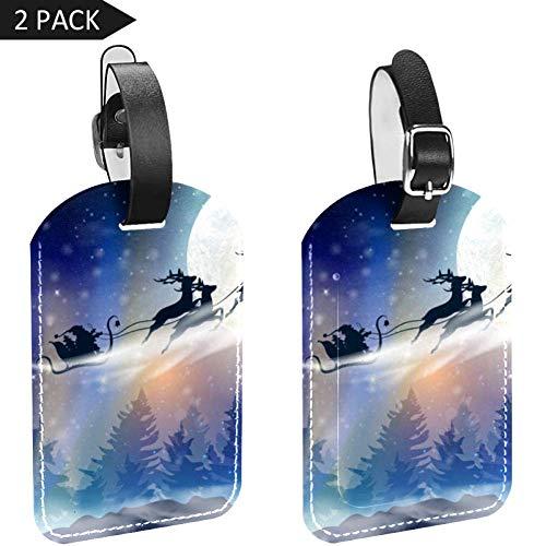 LORVIES Winter blauwe hemel met vallende sneeuw sneeuwvlokken Kerstman Slee met herten bagage Tags Travel Labels Tag Naam Kaarthouder voor Bagage koffer tas Rugzakken, 2 STKS