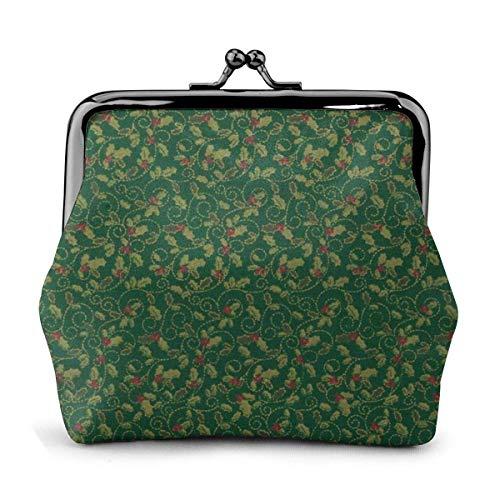Portafogli portamonete con fibbia portamonete con chiusura a frange classica in metallo verde agrifoglio metallico