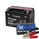 バイクバッテリー充電器+YTX9-BSセット■■台湾ユアサ(YUASA)【長寿命・保証書付】【日本語説明書付き】