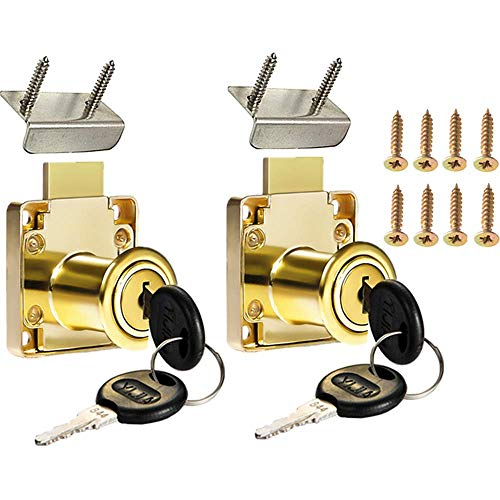 Cabinet Drawer Lock,Mailbox Lock, Model CT-138-22,for Fixing Important Documents and Drawers (Opening Diameter 0.75inch/19MM), Suitable for Door Panels with A Thickness of 17 mm-22 mm. 2 PCS [Golden
