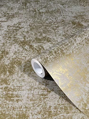 Tapete Gold Weiß Modern Vliestapete Klassisch Opulent für Schlafzimmer Wohnzimmer oder Küche 10,05m x 0,53m Made in Germany