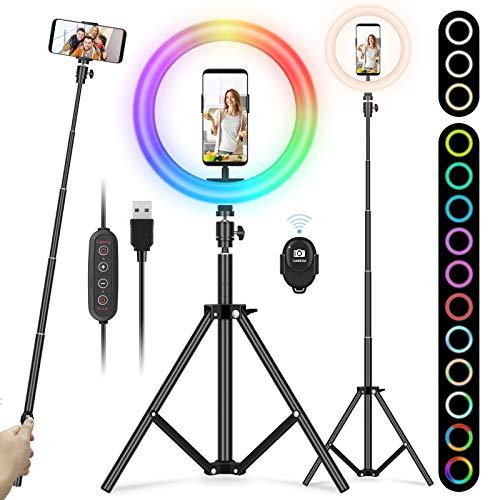 """YISSVIC Luce ad Anello Treppiede,10"""" RGB Led Ring Light con Telecomando, luce per selfie,3 Modalità/13 RGB Colori/10 Luminosità,Estensibile 172cm,Trucco/Youtube Video/TikTok"""