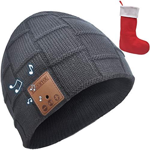 YogerYou Bluetooth Beanie Mütze mit Kopfhörer Jungen Mädchen Baseball Caps Winter Hüte Strumpffüller Geschenke für Männer Frauen Frau Sie Ihn Freund, dunkelgrau, Einheitsgröße passend für die meisten