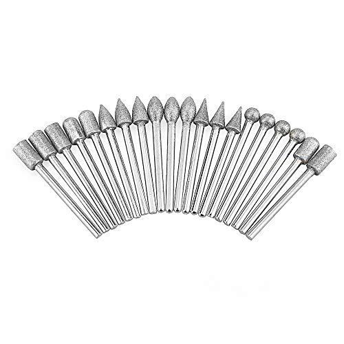 Muye 20Pcs 3mm Shank Diamond Rotary Grinding Bit Metal Polishing Mini Drill Burrs Bit Set for Dremel Rotary Tool Grinding Accessories