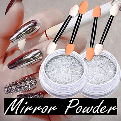 2 Bottles Women Mirror Powder Effect Chrome Nails Pigment Gel Polish DIY, Beauty Item Accessories for Women