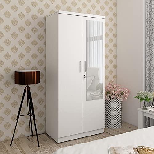 Home Centre Helios Reynan White Engineered Wood 2-Door Wardrobe with Mirror – 47 x 80 x 182 cm