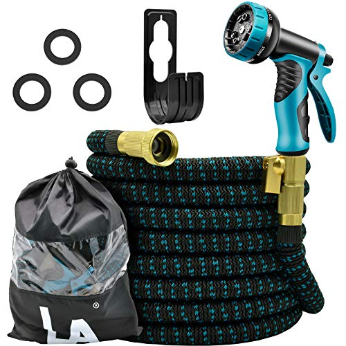 LASCOTON Garden Hose, 50FT Expandable Water Hose Set with 9 Function Spray Nozzle, Extra Strength 3750D Fabric with Durable 3 Layer Latex Core Leakproof for Watering, Wash Car, Clean House