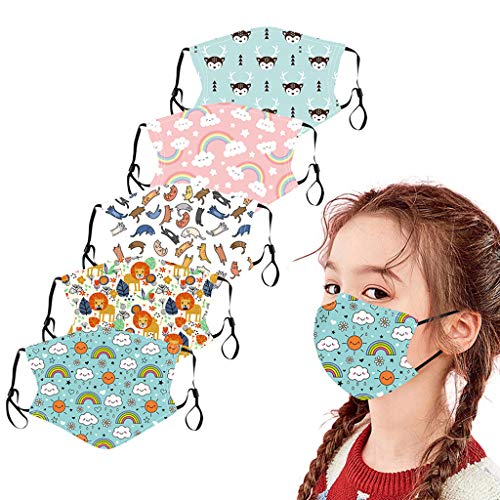 ZHX 5 Stück Kinder Atmungsaktive Mundmasken Schutztuch Gesichtsschutz Schutzhülle Outdoor Schutztuch staubdicht Winddicht Mund Schal für die persönliche Gesundheit Einstellbar Sportmaske (C)
