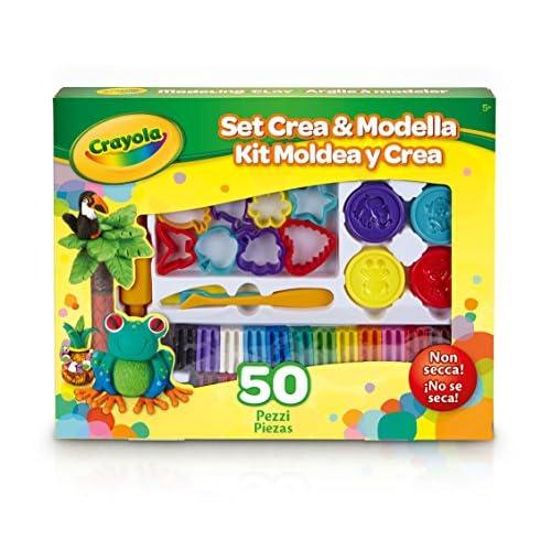 Crayola Set Crea & Modella Set Crea&Modella per Modellare e Giocare Con La Plastilina, Età 5 Anni, per Gioco e Regalo, 50 Pezzi, 57-0321 , Modelli/Colori Assortiti, 1 Pezzo