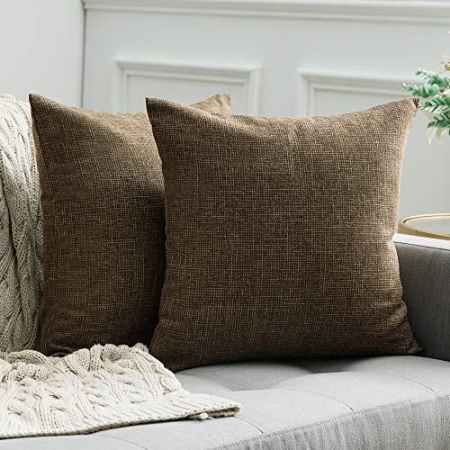 MIULEE 2er Pack Leinenoptik Home Dekorative Kissenbezug Kissenhülle Kissenbezug für Sofa Schlafzimmer Auto mit Reißverschlüsse 50x50 cm Dunkelbraun