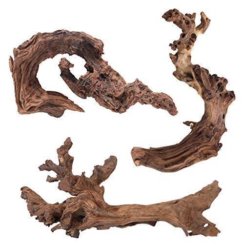 Majoywoo Natural Driftwood for Aquarium Decorations Reptile Decor, Assorted Driftwood Branch 5-10' Long 3 Pcs