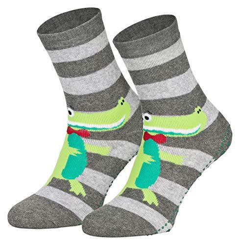 Piarini 2 Paar Kinder Stoppersocken ABS Socken Anti Rutschsocken Noppen Baumwolle Jungen Mädchen Grau Krokodil Gr. 27 28 29 30