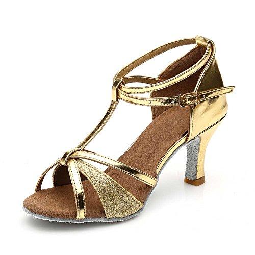 Damen Ballsaal Latein Salsa Tanz Schuhe Standard & Latein stil 255,Gold,34EU,Heel1.95¡±